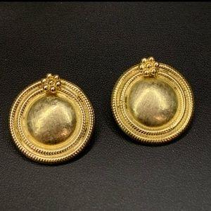 Vintage Hattie Carnegie Clip Earrings Gold Tone